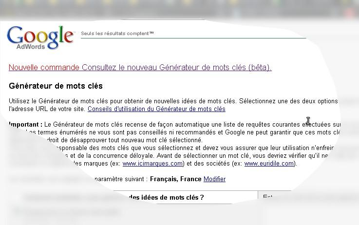 nouveau google adword keyword generator